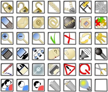 set of 42 web icons on isolated white background photo