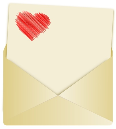letter with pencilled heart and envelope on white background photo