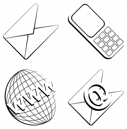 email contact: web contact icons from contour objects on isolated white background - vector
