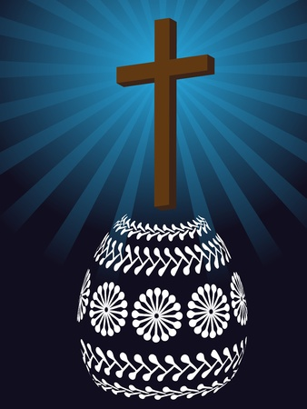 christian easter card with cross and easter egg Vector