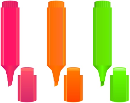 define: set of  3 highlighters,  different colors - vector Illustration