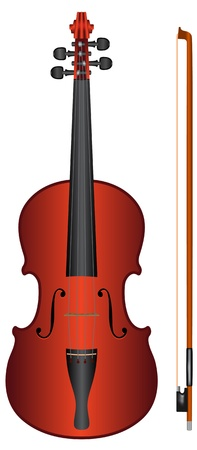 isolated violin with fiddlestick on white background - vector Vector