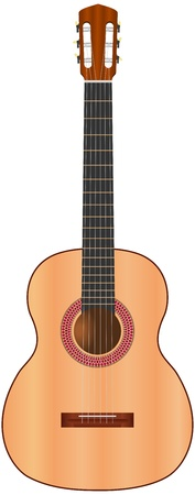 spanish guitar: classic spanish guitar on isolated white background - vector