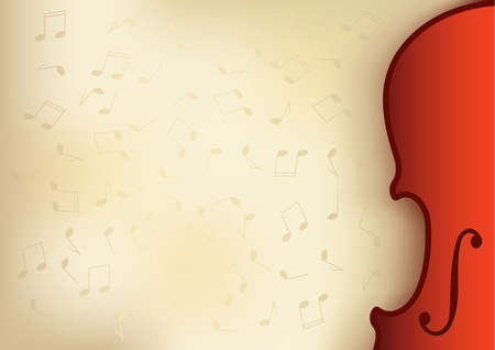 old music background with violin and notes and place for text