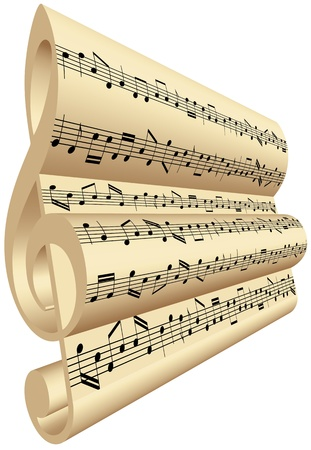 점수: 3D treble clef with notes of music