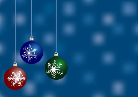 blue christmas greeting with blurred background and with place for text Vector
