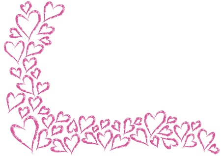 corazones marco romántico a partir de dos lados con el lugar para el texto