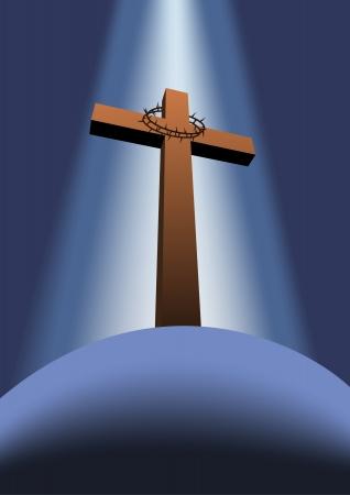 messiah: Croce con corona di spine sulla collina Vettoriali