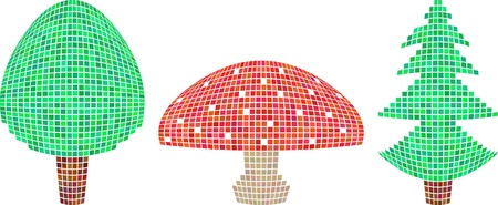 softwood: isolated pixel forest elements - conifeous tree, leaf wood and mushroom - amanita