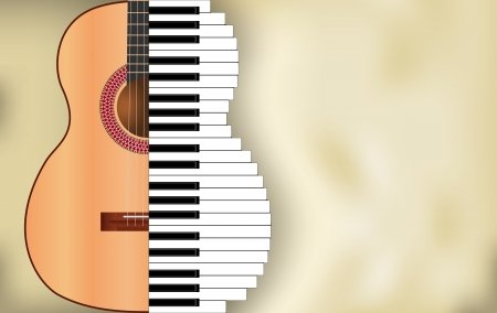spanish guitar: abstract music background from guitar and piano keys with place for text
