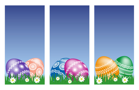 set of easter web banners with easter eggs on grass Vector