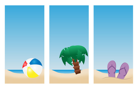 set of summer holiday beach banners with blue sky for text Vector