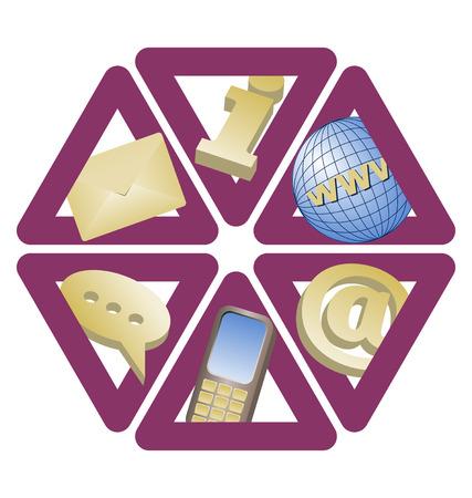 trigonal: set of six trianglular contact icons on white isolated background Illustration