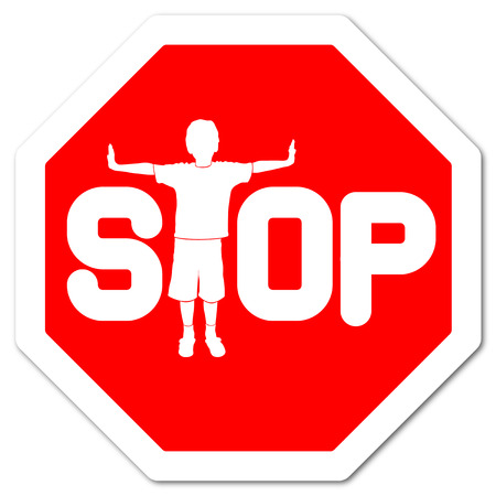 attention sign: red sign stop with boy as letter t