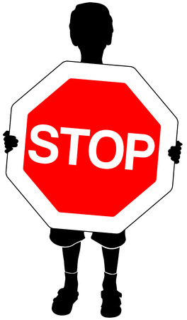 halt: isolated silhouette of boy with stop sign in hands