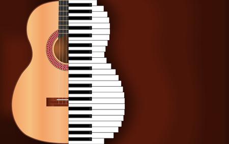 abstracte muziek van gitaar en piano toetsen met plaats voor tekst Stock Illustratie