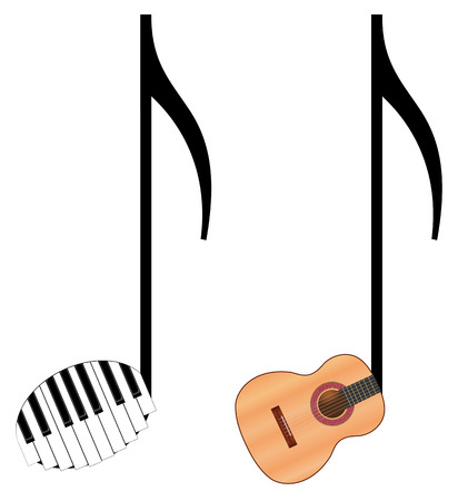 isolated funny music notes on white background