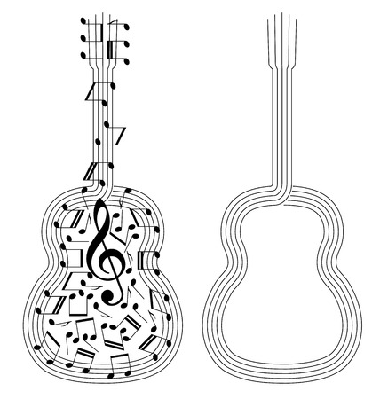 bass guitar: abstract black silhouettes of spanish guitar on white Illustration