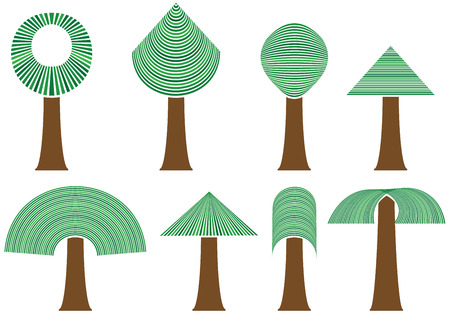 isolated set of eight abstract trees Vector