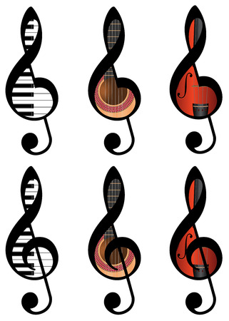 set of abstract treble clefs from piano keys, guitar and violin Vector