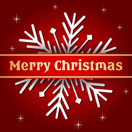 merry christmas text: feliz navidad - texto con la cinta y copo de nieve en fondo rojo oscuro