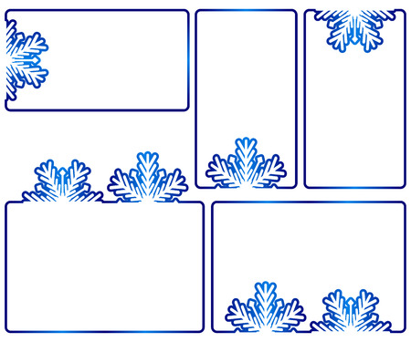 text boxes: Set of five winter text boxes. Suitable for christmas or new year or winter seasonal text content or as banners. Vector isolated on white background.