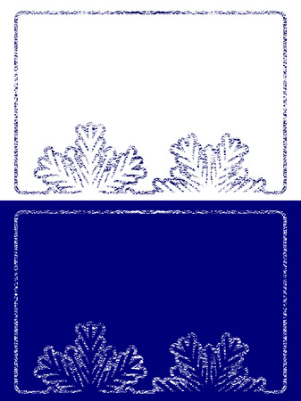 text boxes: Grunge winter text boxes with cracked icing texture. Blue and white background with snowflakes. Suitable for christmas or new year or winter seasonal text content. Vector isolated on white background. Illustration