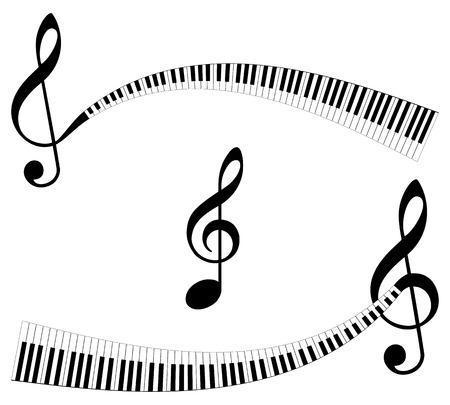 Clef con teclado como termina. Conjunto de símbolos musicales abstractas. Elementos abstractos musicales aislados.
