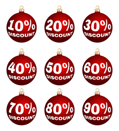end of year: Set of nine vector discount price signs - christmas balls. Isolated sale labels on white background. Suitable for christmas or end of year or new year sale-out.