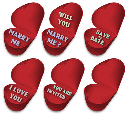 betroth: Half opened hearts With text about marriage or love. Set of six hearts - illustration