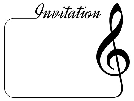 Invitation card for music performance or concert. Isolated template with treble clef, border and place for text.
