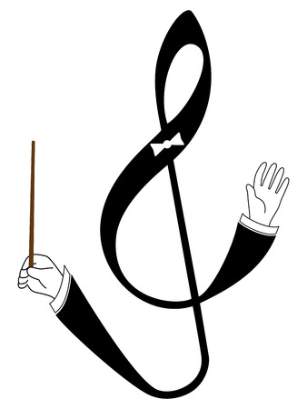 Vector treble clef with conducting hands. Isolated illustration on white background.