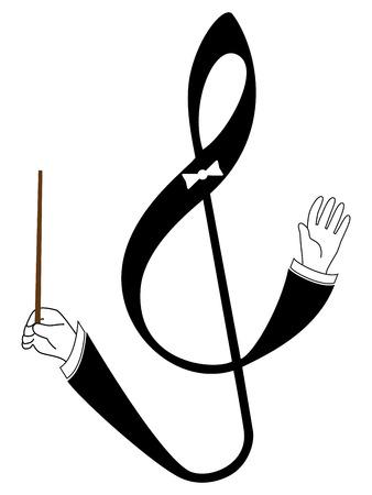 iconos de m�sica: Vector clave de sol con la realizaci�n de las manos. Ilustraci�n aislada en el fondo blanco.