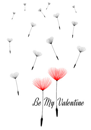 Valentine background with dandelion seeds as hearts, vector. Isolated illustration with text Be My Valentine. Vector