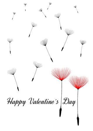 Valentine background with dandelion seeds as hearts, vector. Isolated illustration with text Happy Valentines Day. Vector