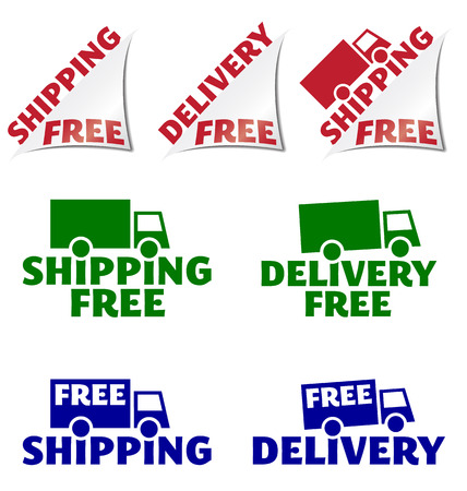 cartage: Set of seven free shopping or free delivery icons.  Vector illustrations on white background. Illustration