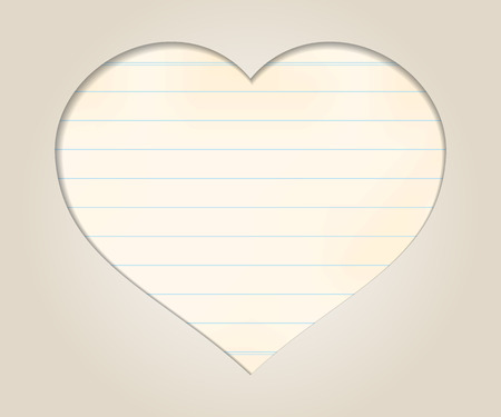 out of engagement: Romantic background with cut heart and old letter paper for text
