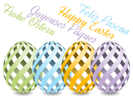 pascua: pastel colored easter eggs with shadow on white background with text Happy Easter from four various languages. Happy Easter, Frohe Ostern, Feliz Pascua, Joyeuses Pâques.