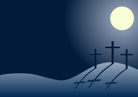 crucify: Three crosses on the hill of Calvary with shadows, dark sky and moon, Golgotha at night, with place for text. Illustration