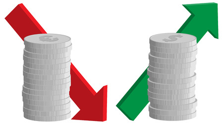 exchange rate: currency exchange rate, euro falling and dollar rising signs, coins with arrows, vector illustration