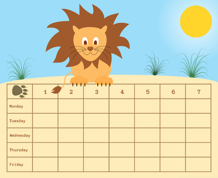 classes schedule: vector school timetable with lion and nature background Illustration