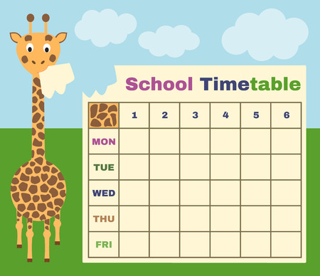 classes schedule: vector school timetable with giraffe and background
