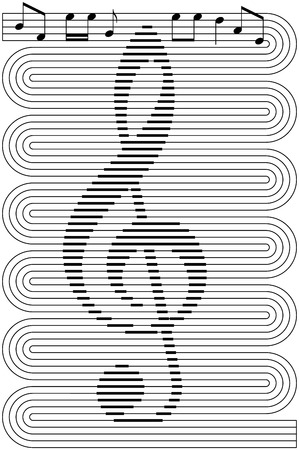 abstract music background, treble clef with notes and lines, isolated black illustration on white