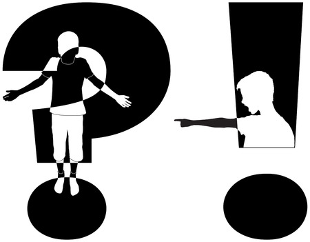 indecisive: question mark and exclamation mark with silhouette of boy, isolated illustration