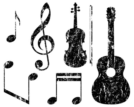 grunge music elements, guitar, violin, treble clef and notes, isolated illustration Vector