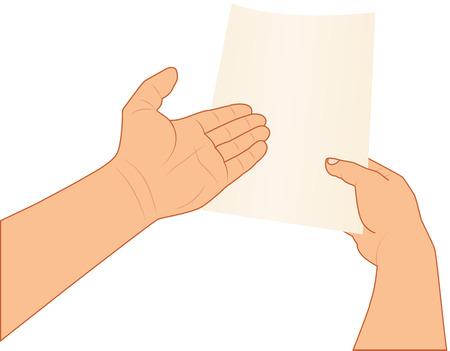 papier vierge: mains tenant et pointant vers du papier blanc, illustration vectorielle