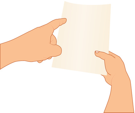 inquire: hands holding and pointing to blank paper, vector illustration, isolated background Illustration