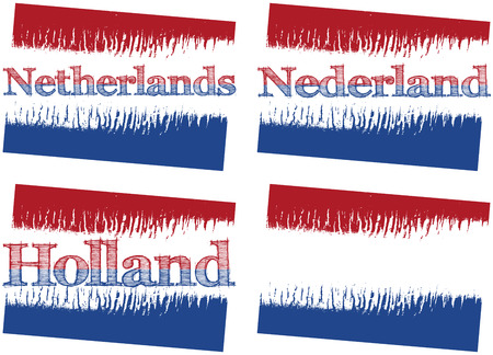 dutch landmark: vector abstract flag of Netherlands, four versions with text Netherlands, Nederland, Holland and without text Illustration