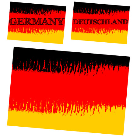 deutschland: vector abstract flag of Germany, three versions with text Germany, Deutschland and without text, isolated illustration Illustration