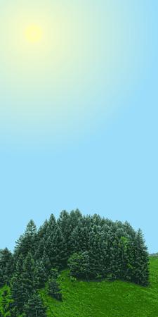 작은 숲: landscape vertical banner, forest with meadow and sun sky, grove with place for text in sky, vector illustration